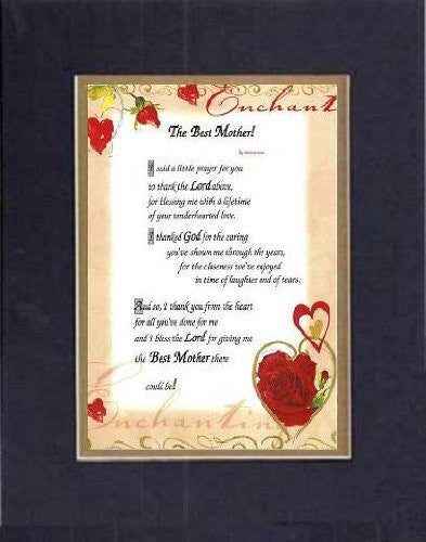 Touching and Heartfelt Poem for Mothers - [The Best Mother! ] on 11 x 14 CUSTOM-CUT EXTRA-WIDE Double Beveled Matting