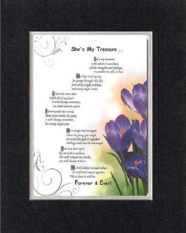 Touching and Heartfelt Poem for Love & Marriage - [She's My Treasure... ] on 11 x 14 CUSTOM-CUT EXTRA-WIDE Double Beveled Matting