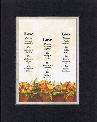 Touching and Heartfelt Poem for Loving Partners - Love...Love...Love Poem on 11 x 14 inches Double Beveled Matting