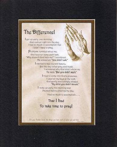 Touching and Heartfelt Poem for Inspirations - The Difference Poem on 11 x 14 inches Double Beveled Matting