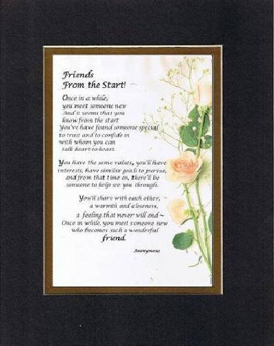Touching and Heartfelt Poem for Special Friends - Friends From the Start Poem on 11 x 14 inches Double Beveled Matting
