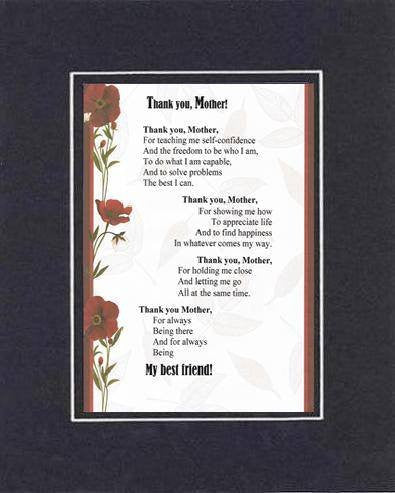 Touching and Heartfelt Poem for Mothers - Thank You, Mother Poem on 11 x 14 inches Double Beveled Matting