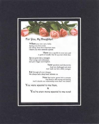 Touching and Heartfelt Poem for Daughters - For You, My Daughter Poem on 11 x 14 Double Beveled Matting