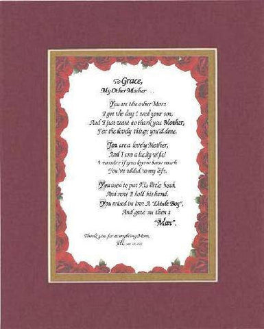 Personalized Poem for Mother-In-Law from Daughter - [To XXXX,] My Other Mother . . . Poem on 11 x 14 inches Double Beveled Matting