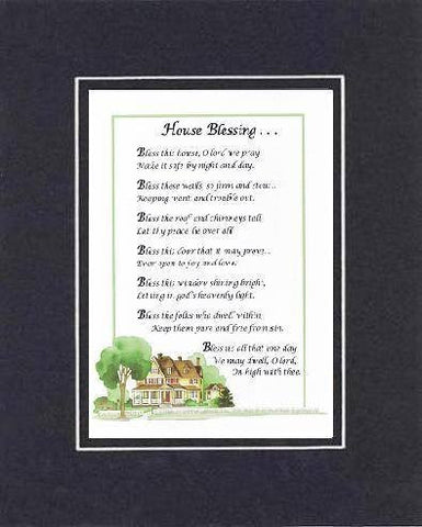 Heartfelt Plaque for Homes -  House Blessing . . . Poem on 11 x 14 inches Double Beveled Matting