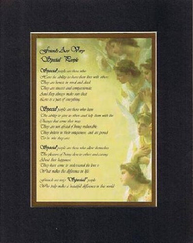 Touching and Heartfelt Poem for Special Friends - Friends Are Very Special People Poem on 11 x 14 inches Double Beveled Matting