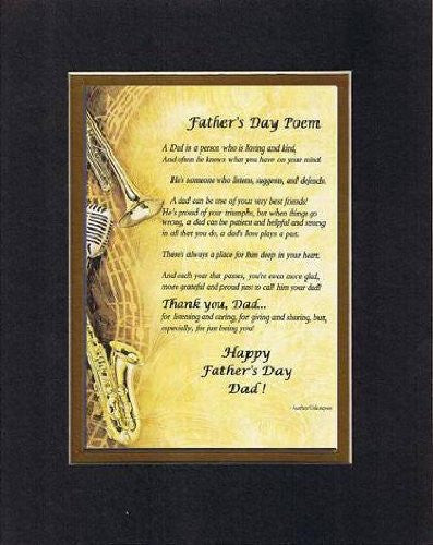 Touching and Heartfelt Poem for Fathers - Father's Day Poem on 11 x 14 inches Double Beveled Matting