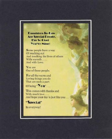 Touching and Heartfelt Poem for Daughters - Daughters-in-Law are Special Poem on 11 x 14 Double Beveled Matting