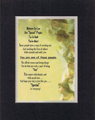 Touching and Heartfelt Poem for Mothers - Mother-in-Law Are Special People Poem on 11 x 14 inches Double Beveled Matting