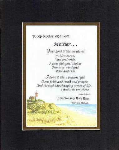 Personalized Touching and Heartfelt Poem for Mothers - Mother. . . Poem on 11 x 14 inches Double Beveled Matting