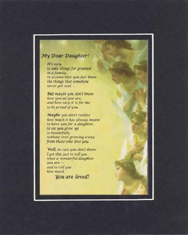 Heartfelt Plaque for Daughters -  My Dear Daughter Poem on 11 x 14 Double Beveled Matting