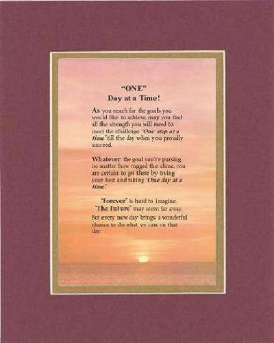 Touching and Heartfelt Poem for Inspirations - One Day at a Time Poem on 11 x 14 inches Double Beveled Matting (Burgundy)