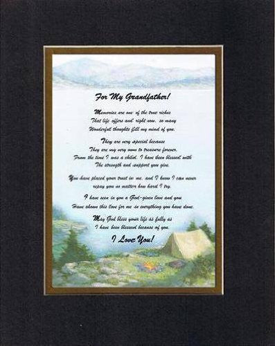 Touching and Heartfelt Poem for GrandParents - For My Grandfather, Memories Are... Poem on 11 x 14 inches Double Beveled Matting