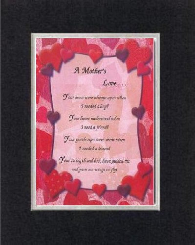 Touching and Heartfelt Poem for Mothers - A Mother's Love . . . on 11 x 14 CUSTOM-CUT EXTRA-WIDE Double Beveled Matting