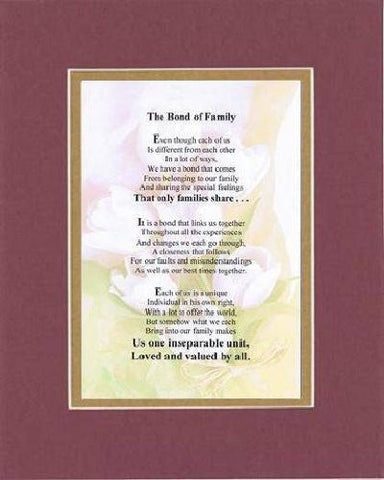 Touching and Heartfelt Poem for Home - The Bond of Family Poem on 11 x 14 inches Double Beveled Matting