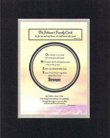 Personalized Touching and Heartfelt Poem for Home - Family Circle Plaque on 11 x 14 inches Double Beveled Matting