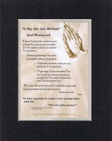 Personalized Touching and Heartfelt Poem for Inspirations - Good Morning Lord: Poem on 11 x 14 inches Double Beveled Matting (Black on White)