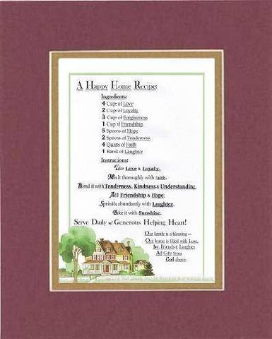Touching and Heartfelt Poem for Home - A Happy Home Recipe . . . Poem on 11 x 14 inches Double Beveled Matting