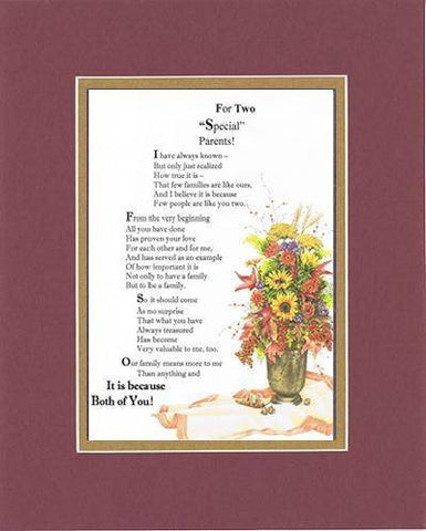 Touching and Heartfelt Poem for Parents - For Two Special Parents Poem on 11 x 14 inches Double Beveled Mattin