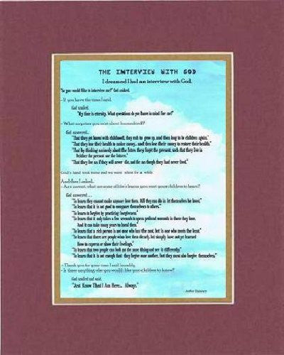 Touching and Heartfelt Poem for Inspirations - The Interview With God Poem on 11 x 14 inches Double Beveled Matting (Burgundy)