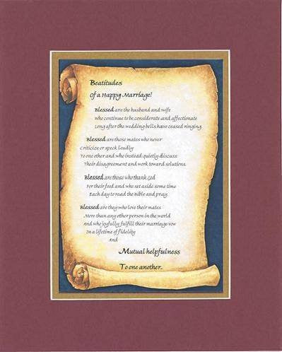 Touching and Heartfelt Poem for Loving Partners - Beatitudes of a Happy Marriage Poem on 11 x 14 inches Double Beveled Matting