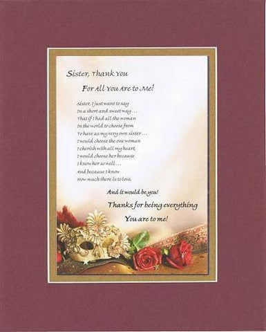 Touching and Heartfelt Poem for Sisters - Sister, Thank You...Poem on 11 x 14 inches Double Beveled Matting