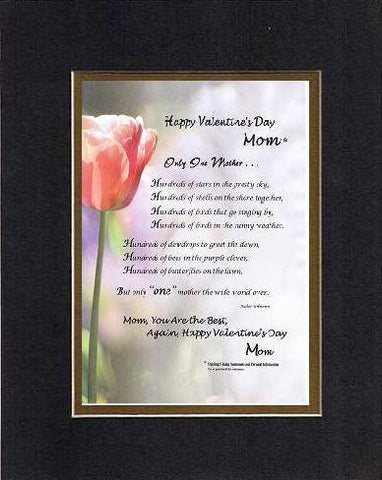 Personalized Touching and Heartfelt Poem for Mothers - Only One Mother . . . Poem on 11 x 14 inches Double Beveled Matting