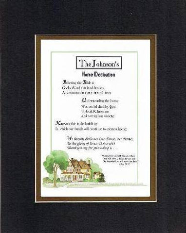 Personalized Touching and Heartfelt Poem for Home - Home Dedication 8 x 10 inches Poem on 11 x 14 inches Double Beveled