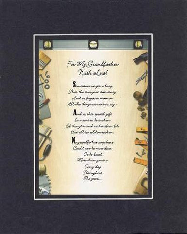 Heartfelt Plaque for Grandparents -  For My Grandfather, with Love Poem on 11 x 14 inches Double Beveled Matting