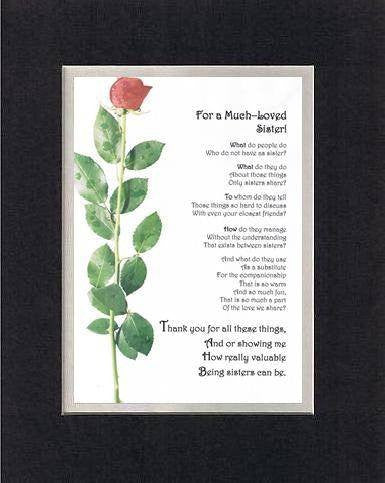 Heartfelt Plaque for Sisters -  For a Much Loved Sister Poem on 11 x 14 inches Double Beveled Matting