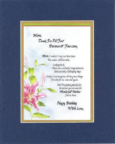 Poem for Mothers - Mom, Thanks for All Your Patience & Your Love, Poem on 11 x 14 inches Double Beveled Matting