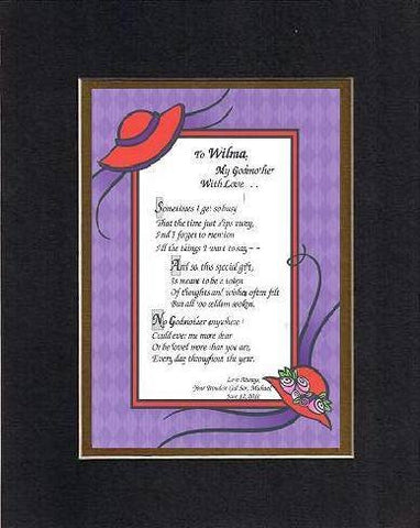 Personalized Poem for Godmothers - [To XXXX,] My Godmother, with Love . . . Poem on 11 x 14 inches Double Beveled Matting