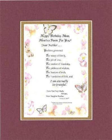 Personalized Touching and Heartfelt Poem for Mothers - Dear Mother Poem on 11 x 14 inches Double Beveled Matting