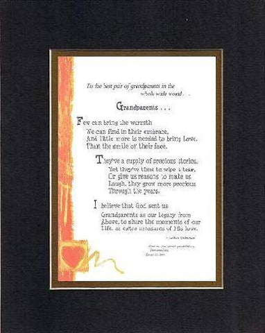 Personalized Touching and Heartfelt Poem for GrandParents - Grandparents . . . Poem on 11 x 14 inches Double Beveled Matting (Black on Gold)