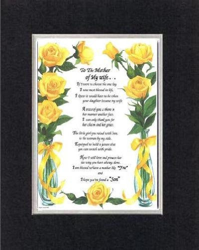Touching and Heartfelt Poem for Mothers - [To The Mother of My wife . . . ] on 11 x 14 CUSTOM-CUT EXTRA-WIDE Double Beveled Matting