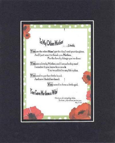 Personalized Poem for Mother-In-Law from Son - To My Other Mother, . . .[Linda] Poem on 11 x 14 inches Double Beveled