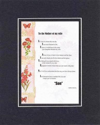 Heartfelt Plaque for Mother -  To The Mother Of My Wife Poem 11 x 14 Double-Beveled Matting