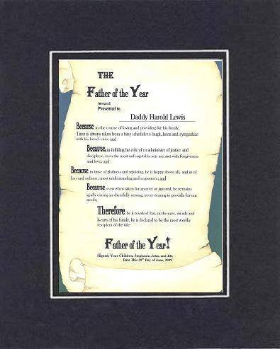 Personalized Heartfelt Poem for Fathers- Father of the Year Award on 11 x 14 inches Double Beveled Matting