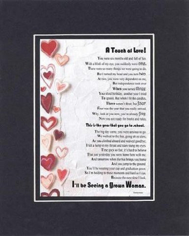 Touching and Heartfelt Poem for Daughters - A Touch of Love (For Daughter) Poem on 11 x 14 inches Double Beveled Matting