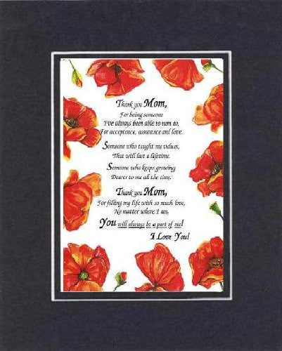 Touching and Heartfelt Poem for Mothers - Thank you Mom,  on 11 x 14 CUSTOM-CUT EXTRA-WIDE Double Beveled Matting