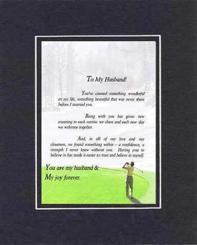 Heartfelt Plaque for Love & Marriage -  To My Husband Poem on 11 x 14 inches Double Beveled Matting
