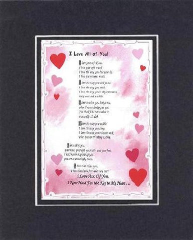 Touching and Heartfelt Poem for Love & Marriage - [I Love All of You! ] on 11 x 14 CUSTOM-CUT EXTRA-WIDE Double Beveled Matting