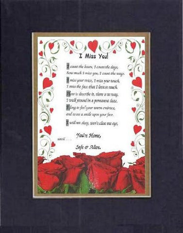 Touching and Heartfelt Poem for Love & Marriage - [I Miss You! ] on 11 x 14 CUSTOM-CUT EXTRA-WIDE Double Beveled Matting