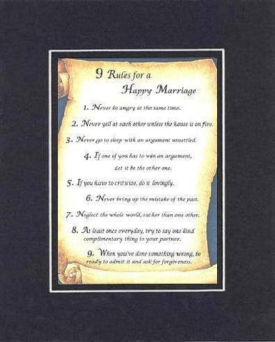 Touching and Heartfelt Poem for Home - 9 Rules for a Happy Marriage . . . Poem on 11 x 14 inches Double Beveled Matting