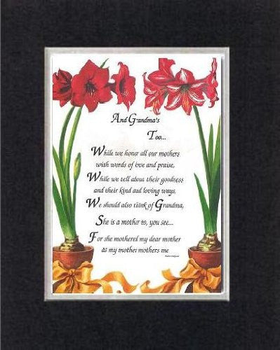 Touching and Heartfelt Poem for Grandparents - [And Grandma's Too... ] on 11 x 14 CUSTOM-CUT EXTRA-WIDE Double Beveled Matting