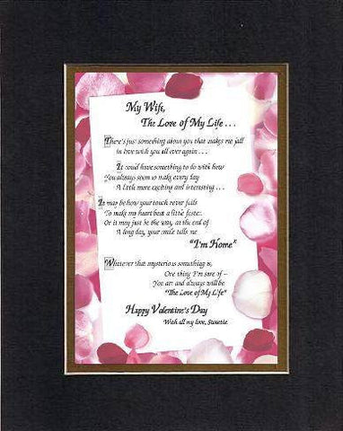 Poem for Love and Marriage - My Wife, The Love of My Life Poem on 11 x 14 inches Double Beveled Matting (Black on Gold)