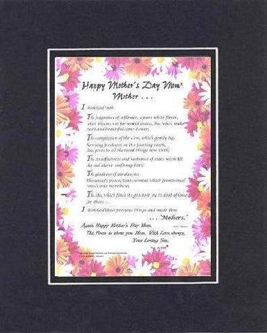 Personalized Touching and Heartfelt Poem for Mothers - Mother . . . I think God took: Poem on 11 x 14 inches Double Beveled Matting