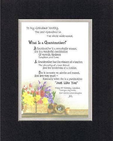 Personalized Touching and Heartfelt Poem for Grandmother - What Is A Grandmother! Poem on 11 x 14 inches Double Beveled Matting