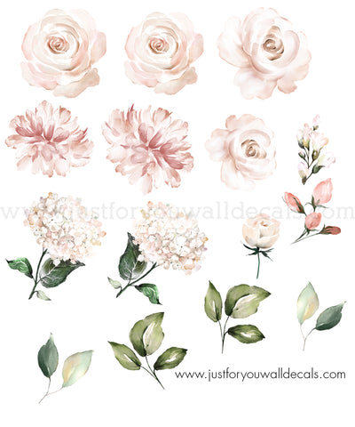 Watercolour Floral Wall Decals - Individual Flowers, Soft Pink And Blush **Mini Set**