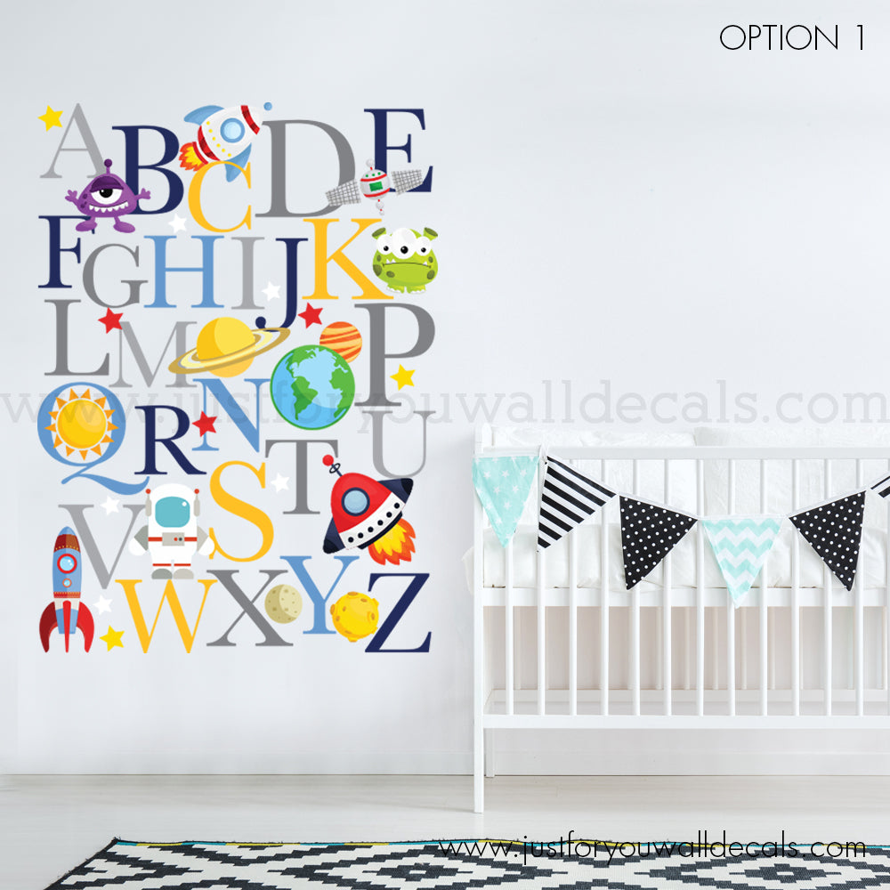 Alphabet Wall Decal   Outer Space Wall Decal